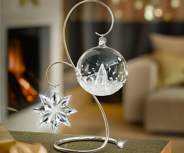 Swarovski chrome ornament display stand large