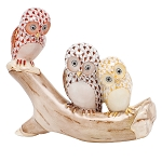 HEREND OWLS ON BRANCH