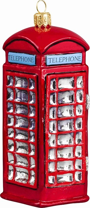 "JOY TO THE WORLD ""BRITISH PHONE BOOTH"" ORNAMENT"