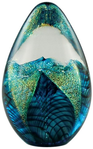 glass eye studio aqua flower dichroic egg - Glass Eye Studio