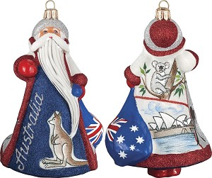 "GLITTERAZZI ""INTERNATIONAL SANTA-AUSTRALIA"" ORNAMENT"