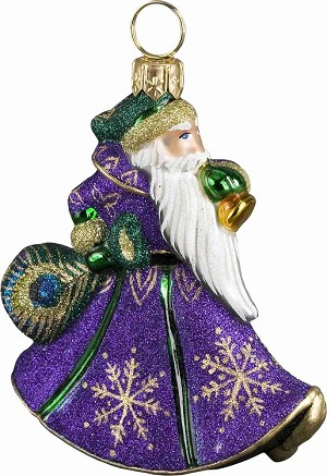 "GLITTERAZZI ""MINI PEACOCK TRUMPETING SANTA"" ORNAMENT"