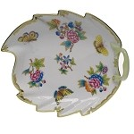 "HEREND ""QUEEN VICTORIA"" LARGE LEAF DISH"