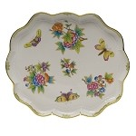 "HEREND ""QUEEN VICTORIA"" SCALLOPED TRAY"