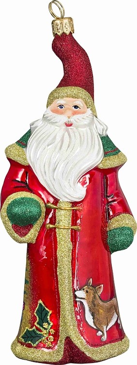 "GLITTERAZZI ""VINTAGE SANTA WITH CORGI"" ORNAMENT"