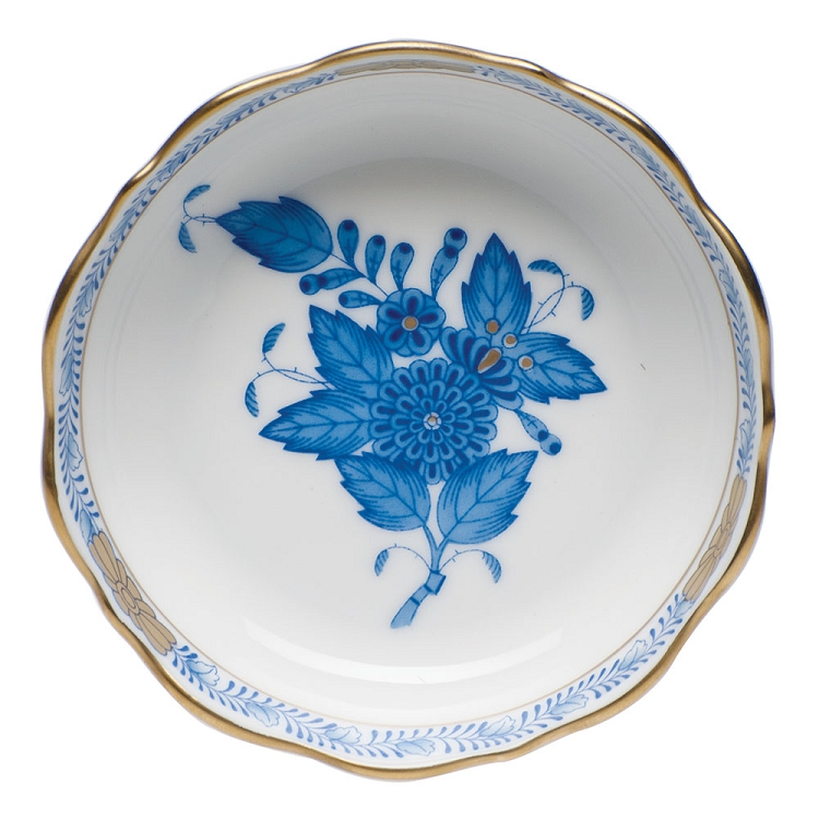 "herend ""mini scalloped dish"" chinese bouquet blue"