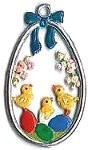 WILHELM SCHWEIZER EGG WITH CHICKS ORNAMENT