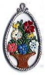WILHELM SCHWEIZER EGG WITH FLOWER BASKET ORNAMENT