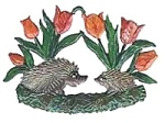 WILHELM SCHWEIZER HEDGEHOGS IN TULIPS ORNAMENT