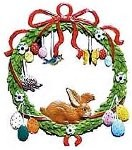 WILHELM SCHWEIZER BUNNY IN WREATH ORNAMENT