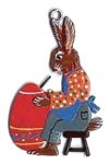 WILHELM SCHWEIZER SITTING BUNNY PAINTING EGG ORNAMENT