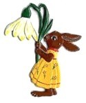 WILHELM SCHWEIZER BUNNY WITH SNOWDROP ORNAMENT