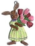 WILHELM SCHWEIZER BUNNY WITH TULIPS ORNAMENT