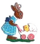 WILHELM SCHWEIZER BUNNY WITH CARRIAGE ORNAMENT