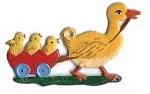WILHELM SCHWEIZER DUCK PULLING CHICKS IN CART ORNAMENT