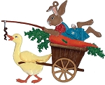 WILHELM SCHWEIZER BUNNY ON CARROT WAGON ORNAMENT