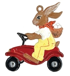 WILHELM SCHWEIZER BUNNY IN PEDAL CAR ORNAMENT