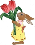WILHELM SCHWEIZER BUNNY GIRL WITH TULIPS ORNAMENT