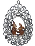 WILHELM SCHWEIZER FILIGREE EGG WITH BUNNY
