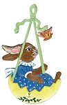 WILHELM SCHWEIZER BUNNY IN SWING ORNAMENT