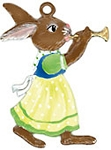 WILHELM SCHWEIZER BUNNY GIRL PLAYING TRUMPET ORNAMENT