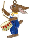WILHELM SCHWEIZER BUNNY BOY PLAYING DRUM ORNAMENT