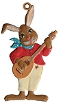 WILHELM SCHWEIZER BUNNY WITH BANJO ORNAMENT