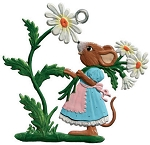 WILHELM SCHWEIZER MOUSE WITH DAISIES ORNAMENT