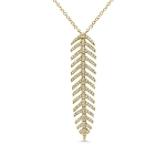 SHY CREATION DIAMOND FEATHER NECKLACE