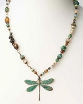 ANNE VAUGHAN DESIGNS RUSTIC CREEK COPPER DRAGONFLY GEMSTONE NECKLACE