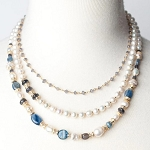 ANNE VAUGHAN DESIGNS SEASIDE PEARL AND GEMSTONE MULTISTRAND NECKLACE