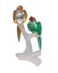 PRECIOSA CRYSTAL PARROTS ON BRANCH FIGURINE