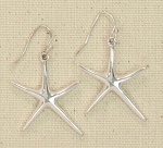 PERIWINKLE SILVERTONE STARFISH EARRINGS