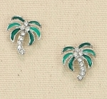 PERIWINKLE SILVERTONE AND CRYSTAL PALM TREE EARRINGS