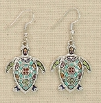 PERIWINKLE LINKED MOSAIC ENAMELED TURTLE EARRINGS