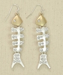 PERIWINKLE MATTE SILVER, GOLD, AND CRYSTAL FISHBONE EARRINGS