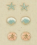 PERIWINKLE GOLDTONE AND ENAMEL SEA LIFE EARRING TRIO- STARFISH, SHELL, SANDDOLLAR