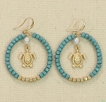 PERIWINKLE TURQUOISE AND GOLD BEADED HOOP TURTLE EARRINGS