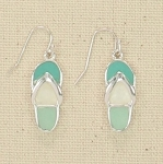 PERIWINKLE SEA GLASS FLIP FLOP EARRINGS