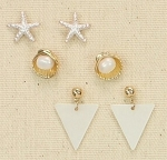 PERIWINKLE GOLDTONE EARRING TRIO- STARFISH, SHELL WITH PEARL, MOTHER OF PEARL DROP