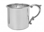 STERLING SILVER BABY CUP WITH SCROLL HANDLE