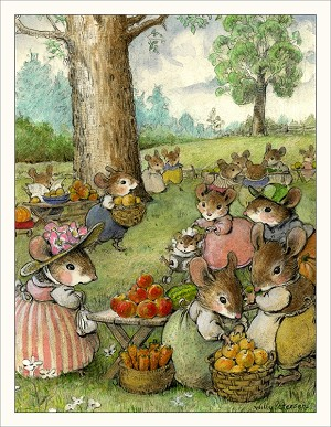 "Wee Forest Folk ""Apple Picking"" Note Card"