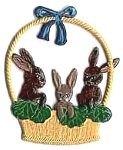 WILHELM SCHWEIZER BUNNIES IN BASKET ORNAMENT