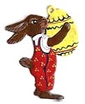 WILHELM SCHWEIZER STANDING BUNNY WITH EGG ORNAMENT