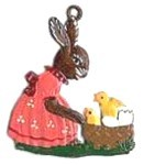 Bunny with Chicks in Basket Ornament