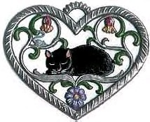 "WILHELM SCHWEIZER ""SMALL HEART WITH CAT"" ORNAMENT"