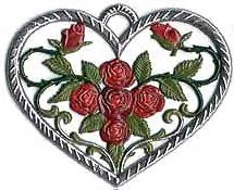 "WILHELM SCHWEIZER ""HEART WITH ROSES"" ORNAMENT"