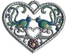 "WILHELM SCHWEIZER ""SMALL HEART WITH BIRDS"" ORNAMENT"