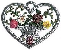 Small Heart Ornament with Flower Basket