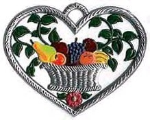 Small Heart Ornament with Fruit Basket